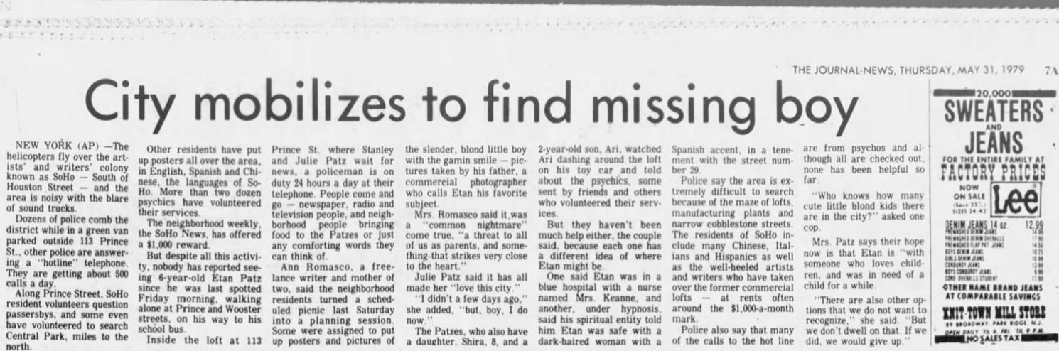 Etan Patz News Article 1979