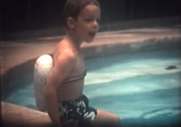 Boy with strofoam swim bubble 1970s