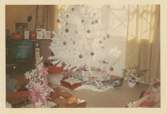vintage Christmas white tree 1966