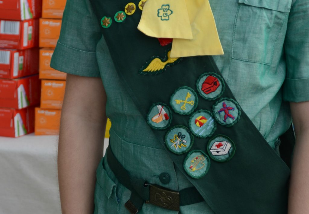 Vintage Girl Scout Uniform and Badges from the 1960s Sewing Cooking First Aid Paint Art Swimming Treasure Chest Keys