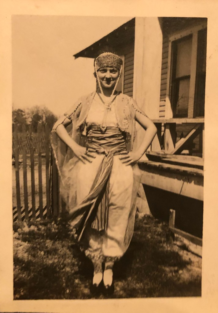 Halloween 1919, following World War 1, a woman dresses up like a gypsy. (Location: Texas or Oklahoma.)