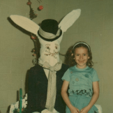 This Easter Bunny from 1977 has quite a tall face.