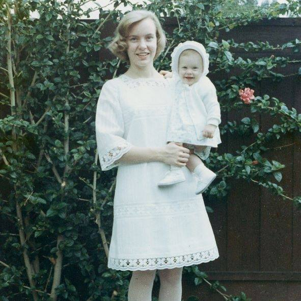 Beautiful Young Mother and Daughter, Easter Sunday 1968