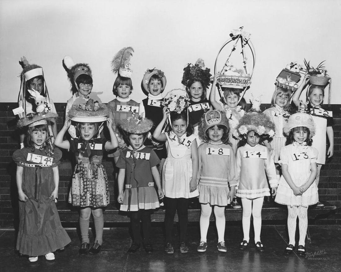 1972: 1st Graders participate in the Easter Hat Parade, Davenport, Iowa.