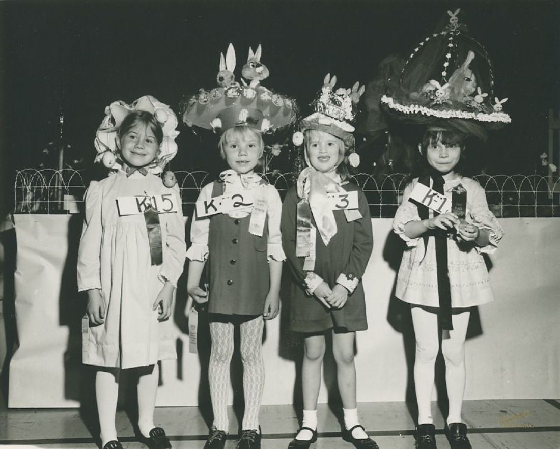 1971: Kindergartners Participate in an Easter Hat Parade at their public school in Davenport, Iowa.