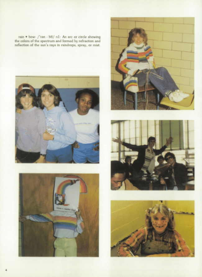 1980s rainbow shirts and fashions featured in 1982 yearbook