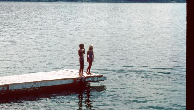 Brother and Sister on the Dock in Matching Bicentennial Bathing Suits