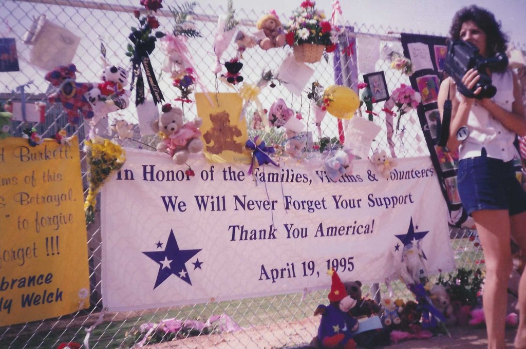 One of the first images of the fence outside the Oklahoma City Memorial, 1995