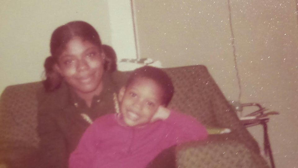 A son pays tribute to his African American Mother, 1975 photo