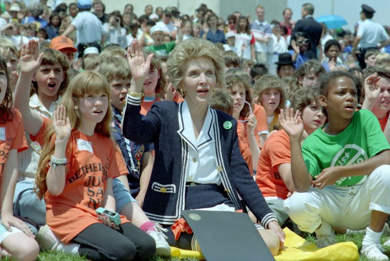 """Nancy Reagan with Children Taking Part in a """"Just Say No"""" Walk at The Washington Monument"""