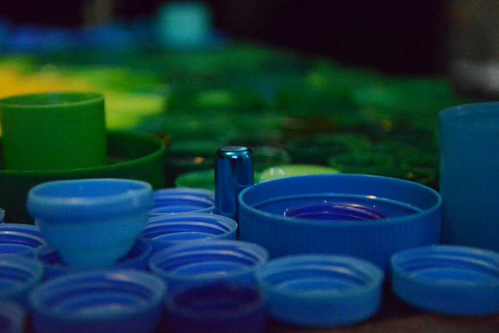 Blue Green Bottle Caps