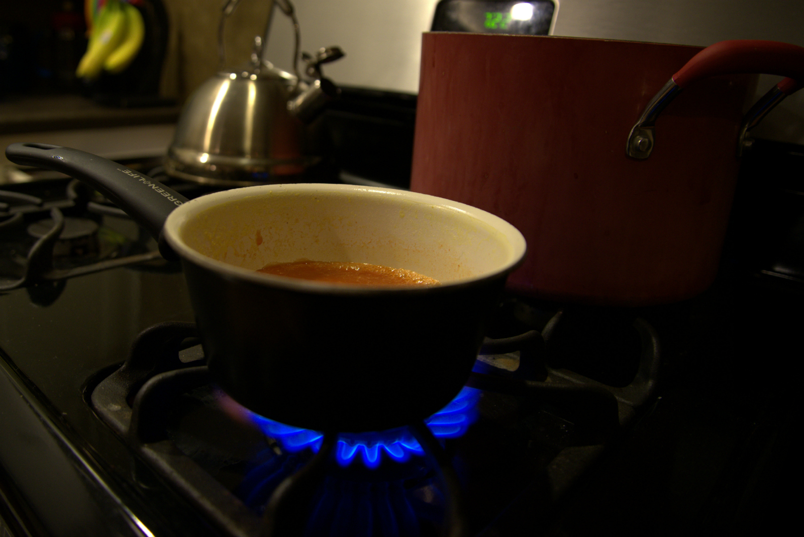 Cooking Soup Natural Gas Blue Flame