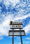 Old 1960s shopping plaza sign in OKC Meridian Plaza