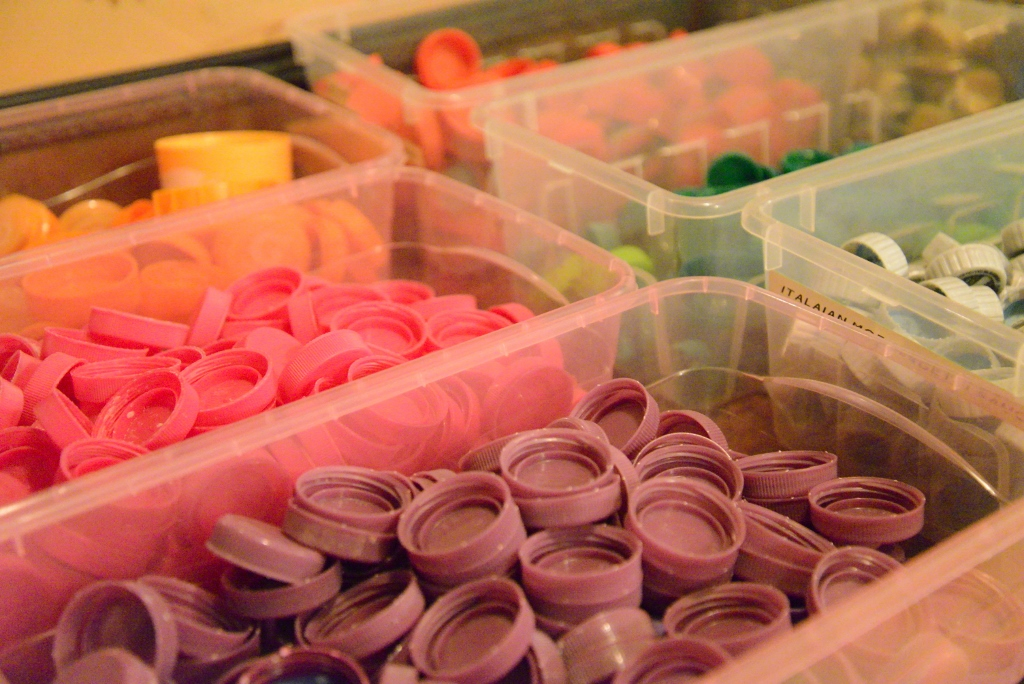 Organizing Bottle Caps in Bins