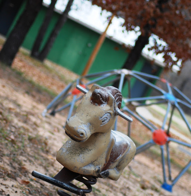 Brown Spring Rider Horse Playground Equipment from the 70s