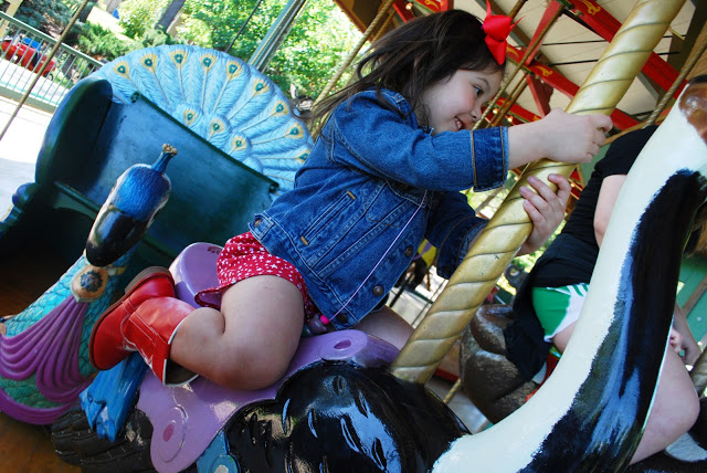Cowgirl Riding Ostrich Carousel