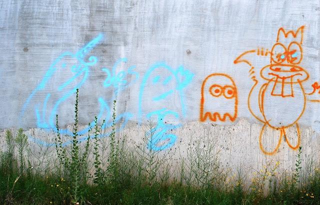 Pac Man and Rocky and Bullwinkle Graffiti