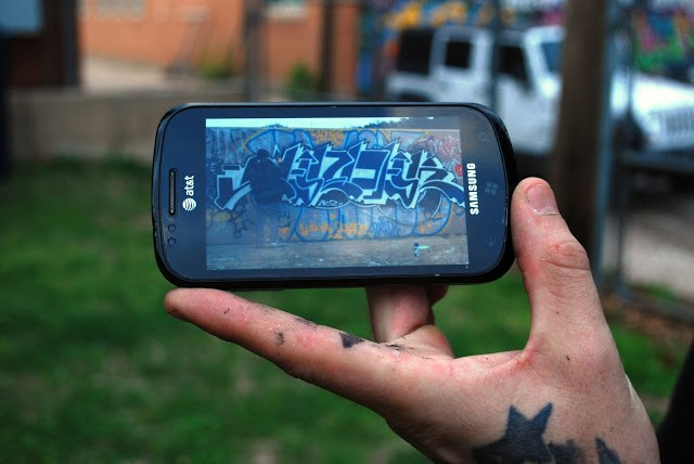 Picture of graffiti on an iPhone.