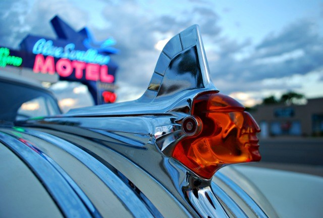 Blue Swallow Motel and a 1951 Pontiac Hood Ornament