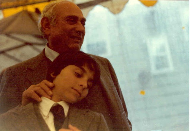 Jewish boy and his grandfather at 1980 Bar Mitzvah