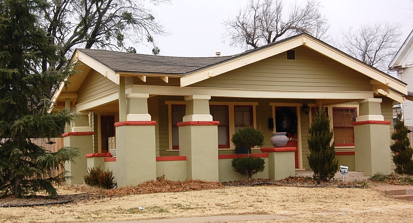 Houses painted olive green jennifer mccollum for Craftsman style homes in okc