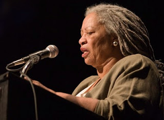 Toni Morrison with long gray dreadlocks