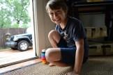 playing stacking legos