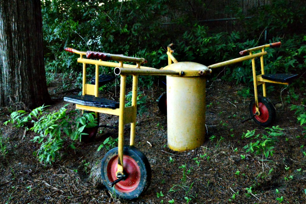 Tricycle, old playground equipment,
