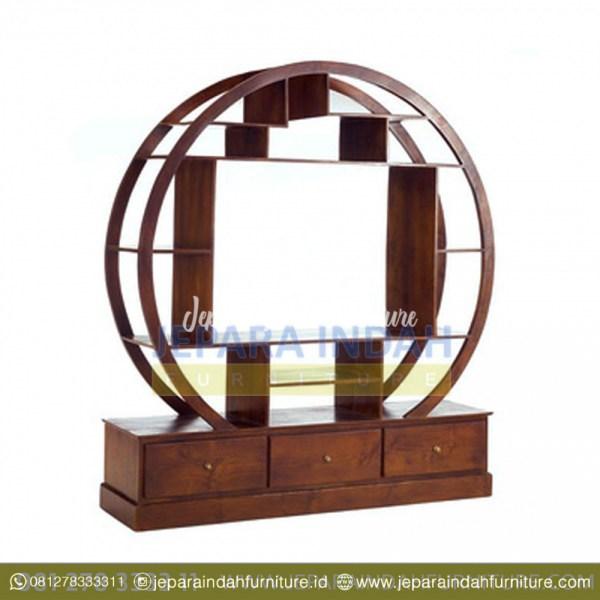 Lemari Pajangan Hias Jati Model Oval