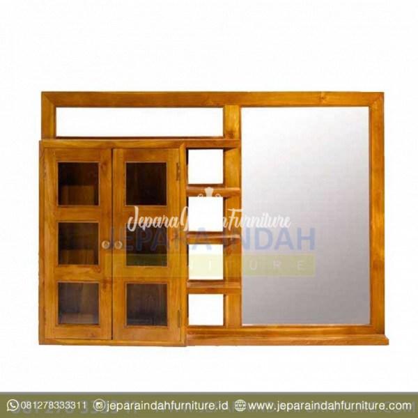 Rak Peralatan Mandi dan Cermin Kaca Minimalis Jati