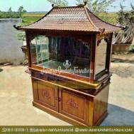 Toko Jual Lemari Aquarium Jati Ukir Bunga 2 Pintu (HDF LAQ 001 2D)