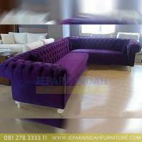 Jual Sofa Sudut Besar Full Busa Kain Bludru