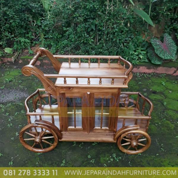 Harga Jual Meja Teh Model Trolley Ukir Jati Klasik