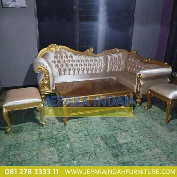 Harga Jual Sofa Sudut Laurence Gold Paint Ukir Mewah (LRF STS 014)