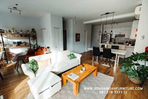 Furniture Jati Jepara Untuk Ruang Keluarga Konsep Menyatu Dengan Ruang Makan