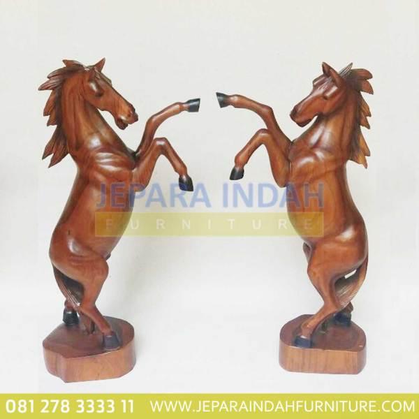 HDC AHR 001 Patung Kuda Jingkrak Kayu Jati Ukir Jepara
