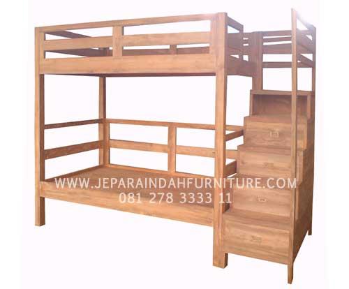 Tempat Tidur Minimalis Susun Tingkat (Bunk Beds) Kayu Jati