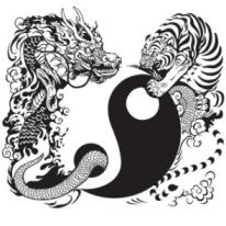 yin yang alchimie lune et soleil tigre dragon
