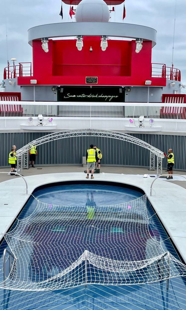 Building a stage on a cruise ship.