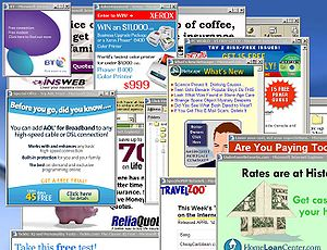 Dozens of pop-up ads covering a desktop.