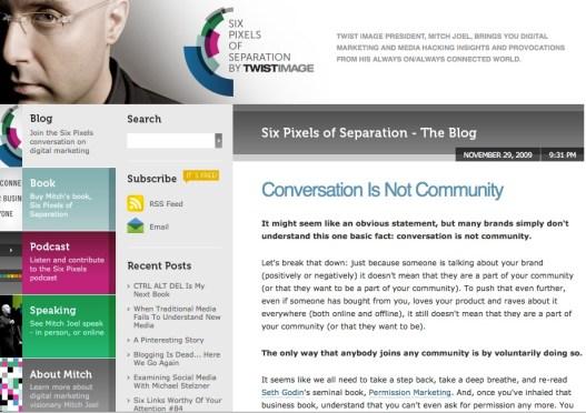 Conversation is not Community – @MitchJoel's Six Pixels blog
