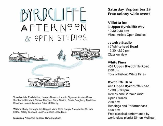 Please join us in Woodstock, NY at the Byrdcliffe Colony, Saturday September 29th 12:30pm - 5pm. Open studios to see new work, performances, and food.
