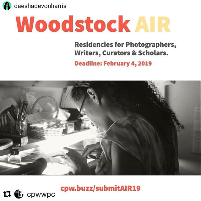 #Repost @daeshadevonharris• • • • •A great opportunity- get your applications in! #Repost @cpwwpc・・・Deadline extended! 4-6 week residency in #WoodstockNY for photographers & writers. Deadline now: February 4. Join us as we celebrate 20 years of #WoodstockAIRApply at http://cpw.buzz/submitAIR19Made possible by generous supporters, including the National Endowment on the Arts #NEA #NYSCA #JoyOfGivingSomething #LeonianFoundation #TheThompsonFoundation #AndyWarholFoundation #ArtsMid-Hudson #StateOfNY and many private donors. #photography #digitallab #darkroom #artisthouse #diversity #socialjustice #artistsofcolor #cpwair #artmaking #artistinresidence #centerforphotographyatwoodstock #artresidency #artmaking #photoresidency