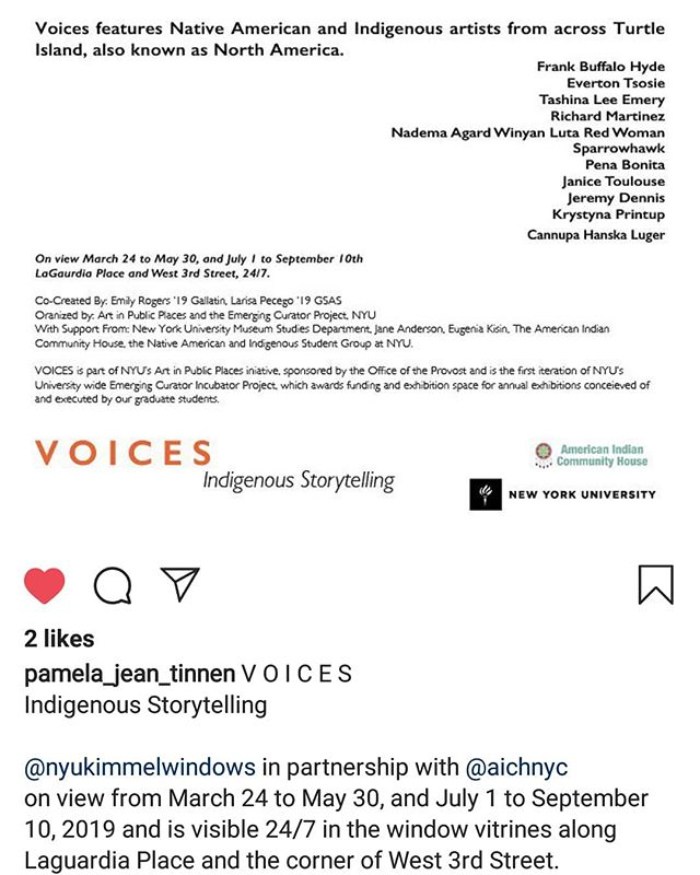 Repost from @pamela_jean_tinnen honored to be showing at NYU in a show titled VOICES - Indigenous Storytelling