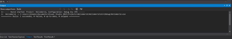 Output Window - Microsoft Visual Studio
