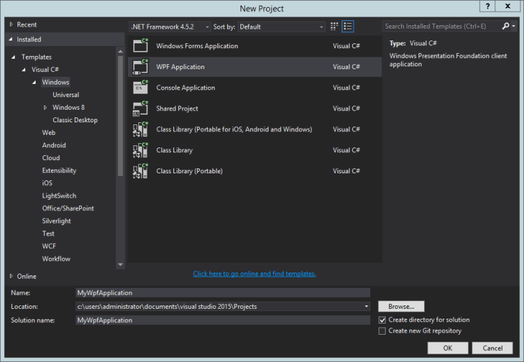 visual-studio-new-wpf-project
