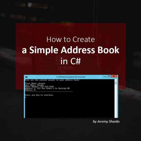 how to create a simple address book in c jeremy shanks