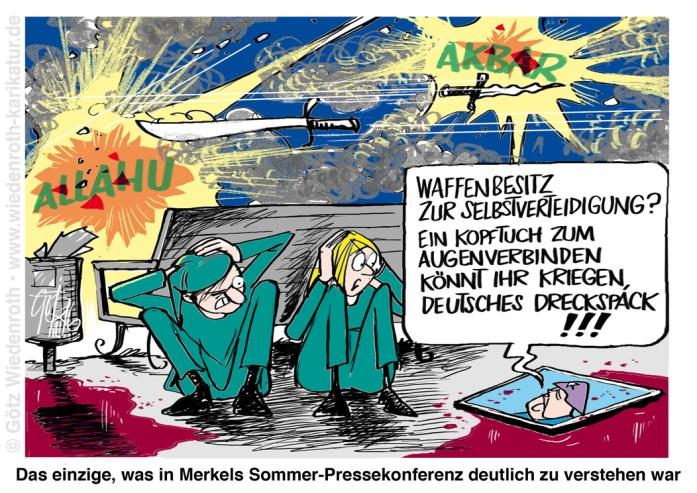 Bildunterschrift: Das einzige, was in Merkels Sommer-Pressekonferenz deutlich zu verstehen war.