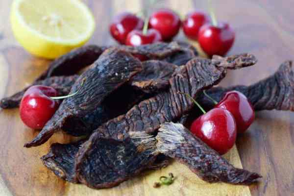 Sweet Cherry Beef Jerky Finished Close-up