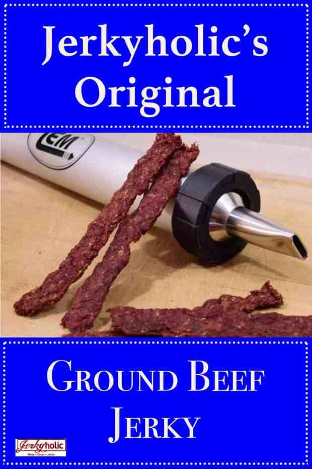 This original ground beef jerky recipe is rich and flavorful as well as easy and quick to make! No marinating required. Everyone will love these meaty protein snacks. | Jerkyholic.com